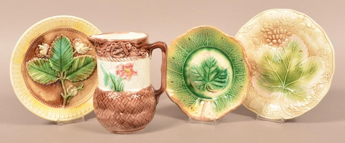 Four Pieces of Majolica Pottery. Pitcher measures