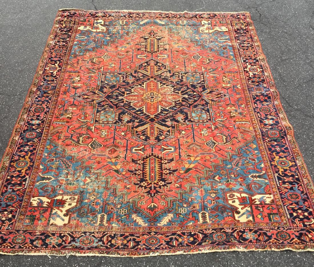 "Antique Persian Heriz Pattern Room Size Rug. 9'6"" x"