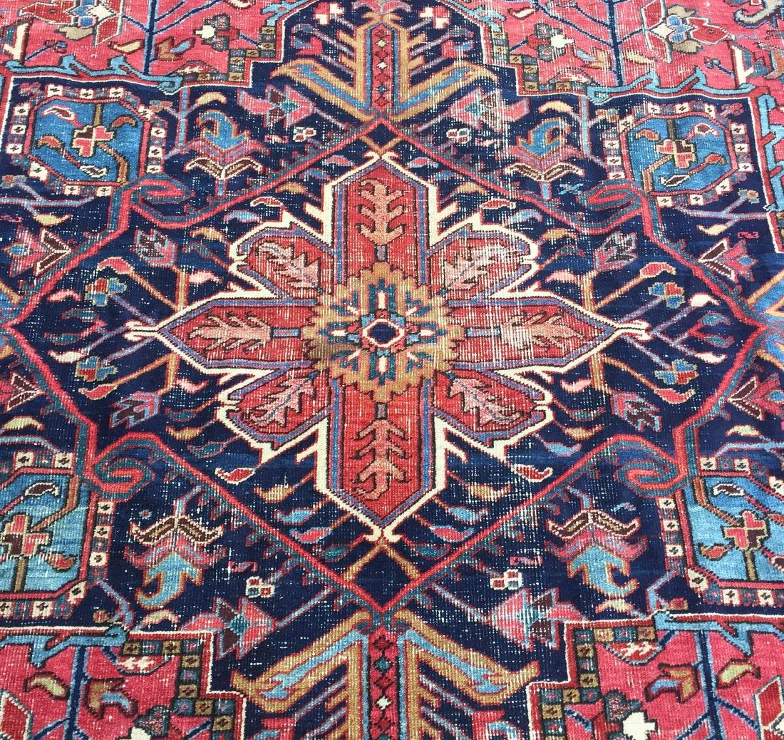 "Antique Persian Heriz Pattern Room Size Rug. 9'6"" x - 2"