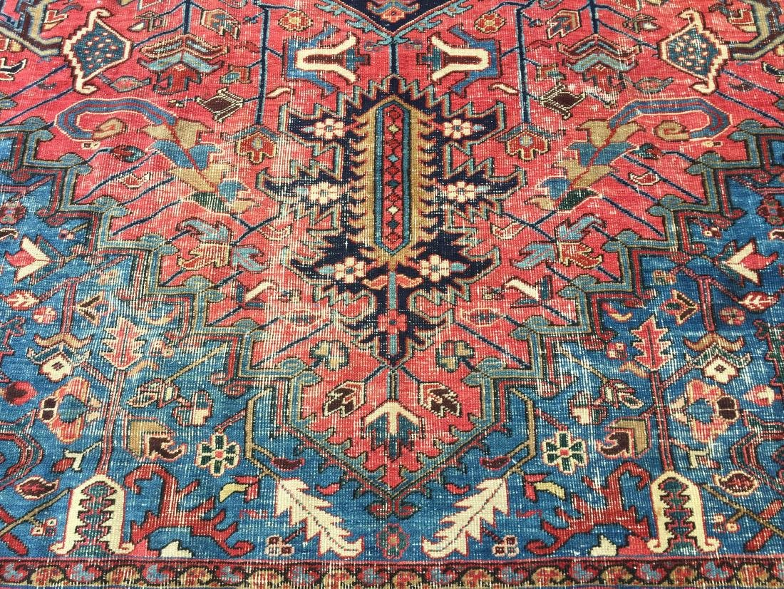 "Antique Persian Heriz Pattern Room Size Rug. 9'6"" x - 5"