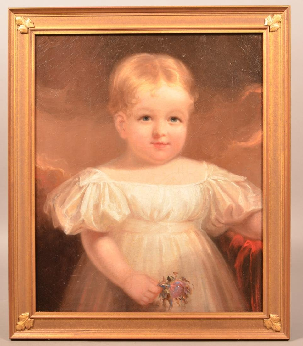 Oil on Canvas Portrait of a Young Girl Attributed