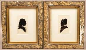 Pair of 20th Century Artist Signed Silhouettes. In 19th