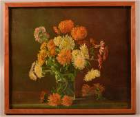 Oil on Canvas Floral Still Life Painting Signed C.H.