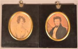 Pair of 19th Century Miniature Watercolor on Paper