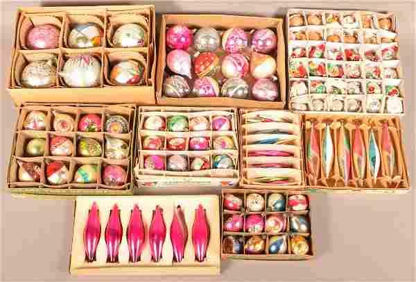 Nine Boxes of Vintage Glass Christmas Ornaments.