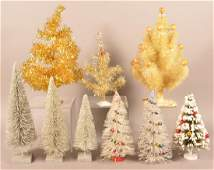 Nine Various Vintage Christmas Trees. Four with glass