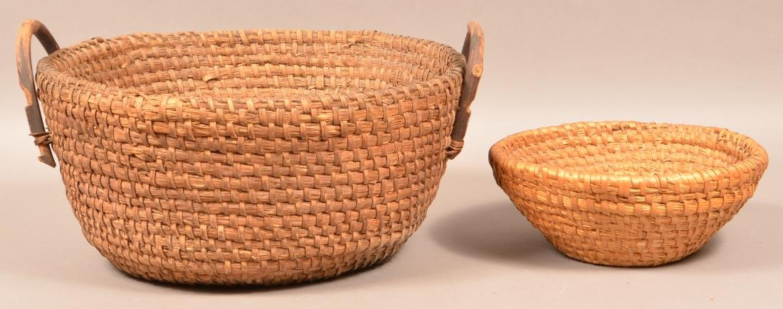 Two Antique Rye Straw Coil Baskets. Larger has attached