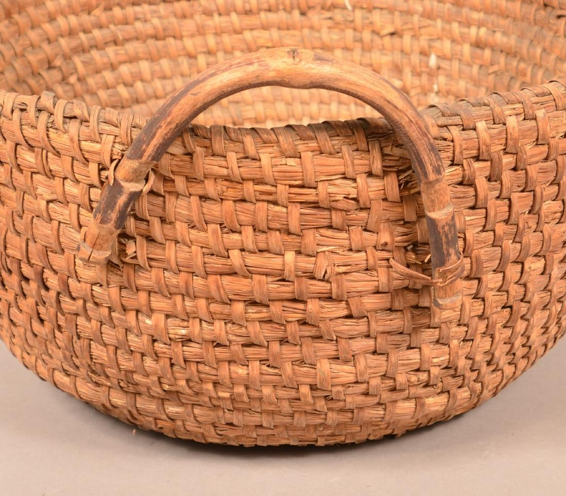 Two Antique Rye Straw Coil Baskets. Larger has attached - 2