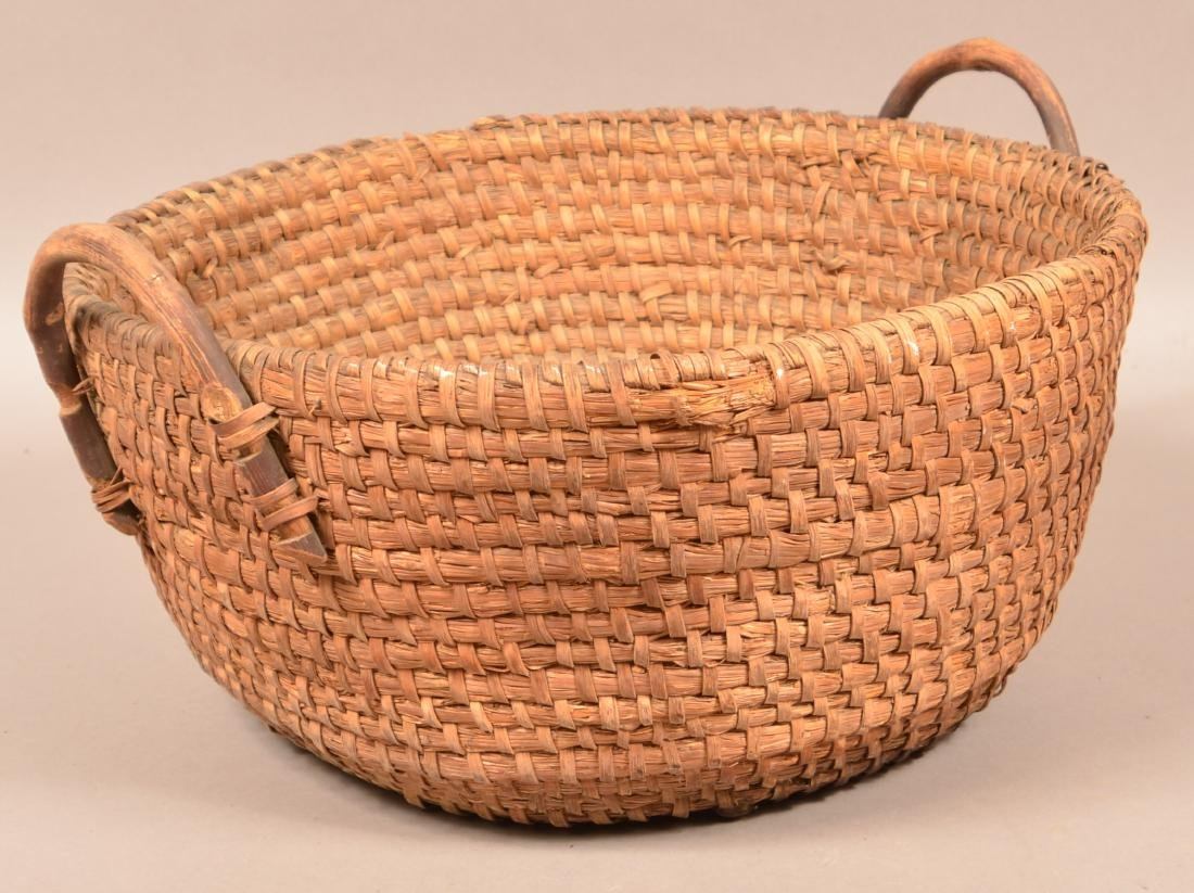 Two Antique Rye Straw Coil Baskets. Larger has attached - 3