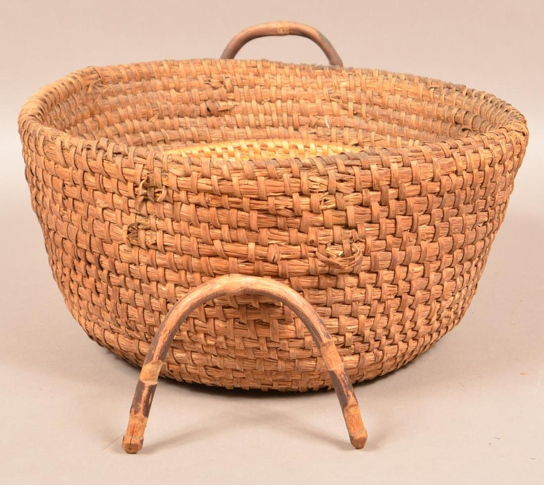 Two Antique Rye Straw Coil Baskets. Larger has attached - 6