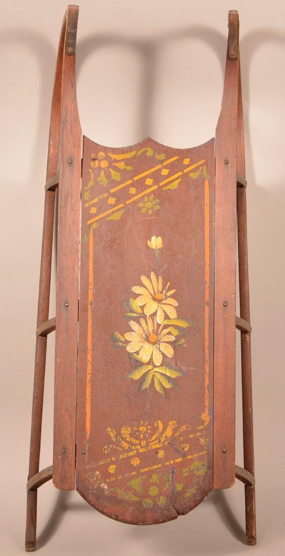 Antique Paint Decorated Wood Child's Sled. Floral
