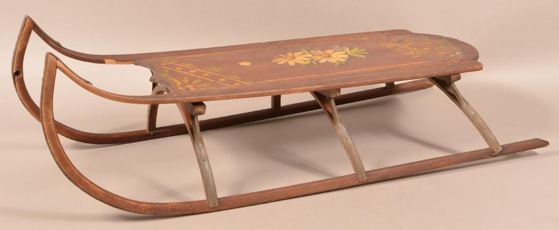 Antique Paint Decorated Wood Child's Sled. Floral - 2