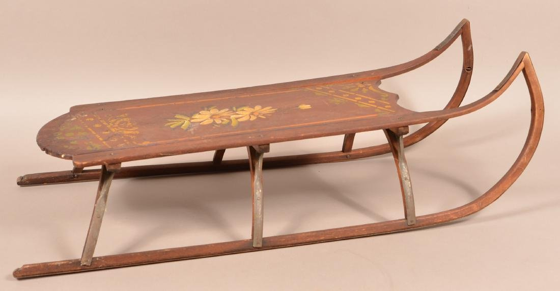 Antique Paint Decorated Wood Child's Sled. Floral - 3