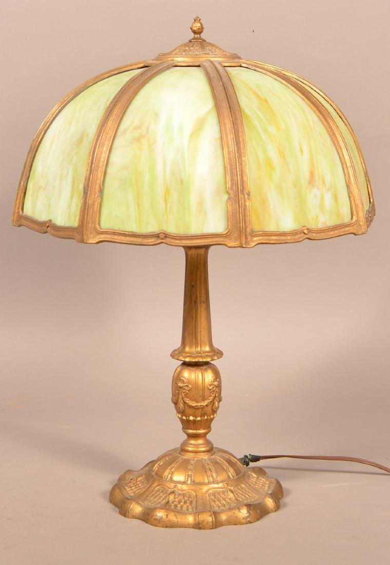 Early 20th Century Green Slag Glass Shade Table Lamp.