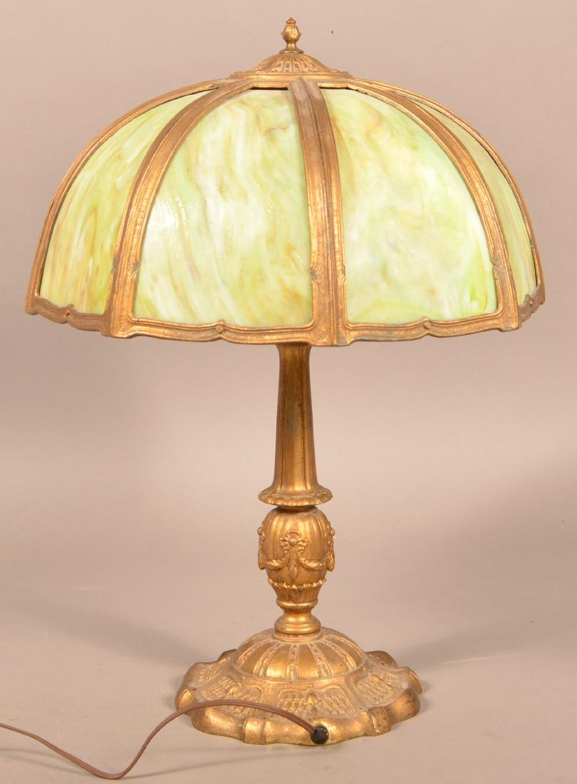 Early 20th Century Green Slag Glass Shade Table Lamp. - 2