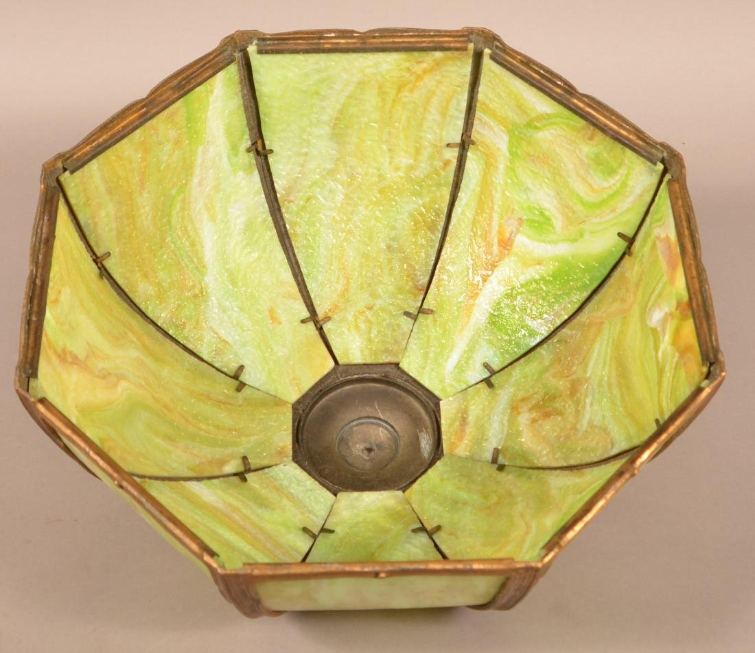 Early 20th Century Green Slag Glass Shade Table Lamp. - 4