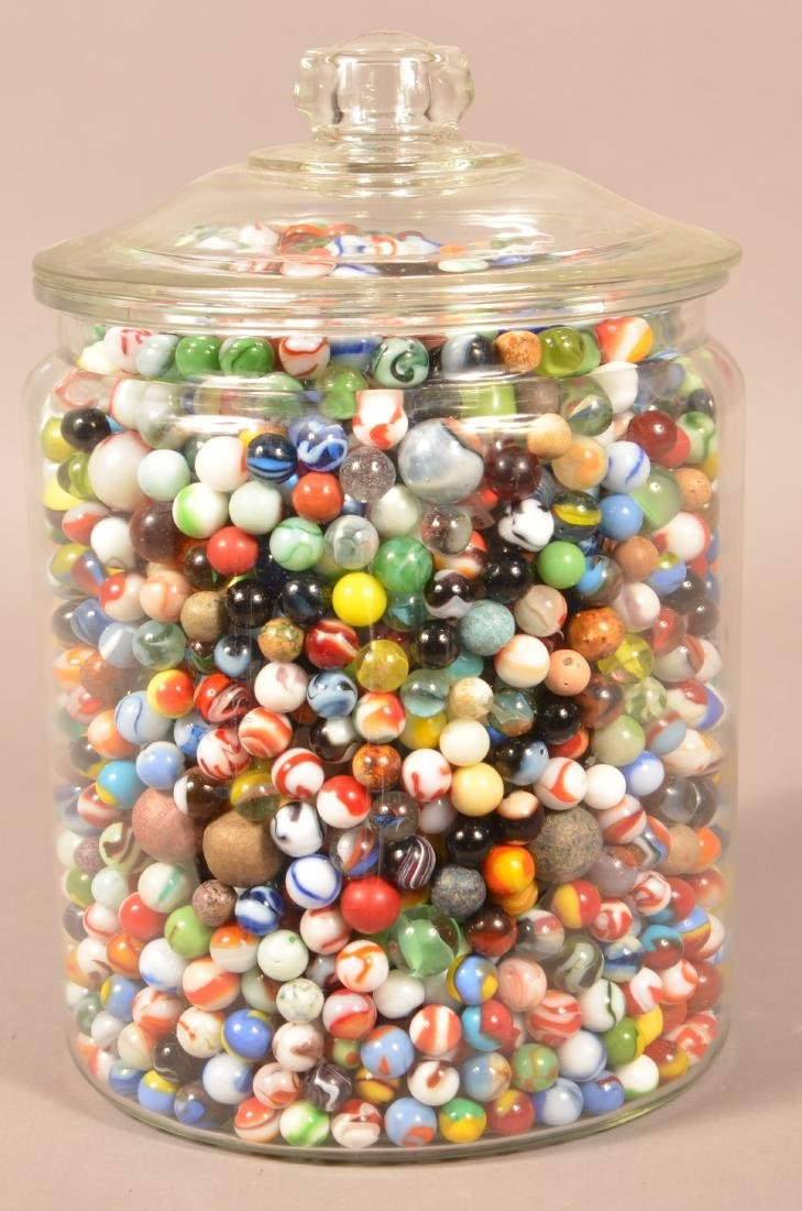 Large Jar Full of 1000+ Antique and Vintage Marbles.
