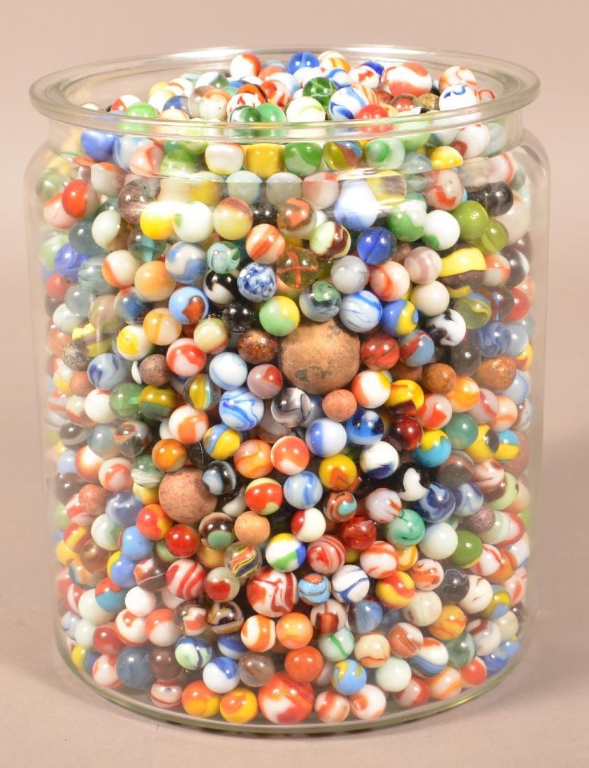 Large Jar Full of 1000+ Antique and Vintage Marbles. - 2
