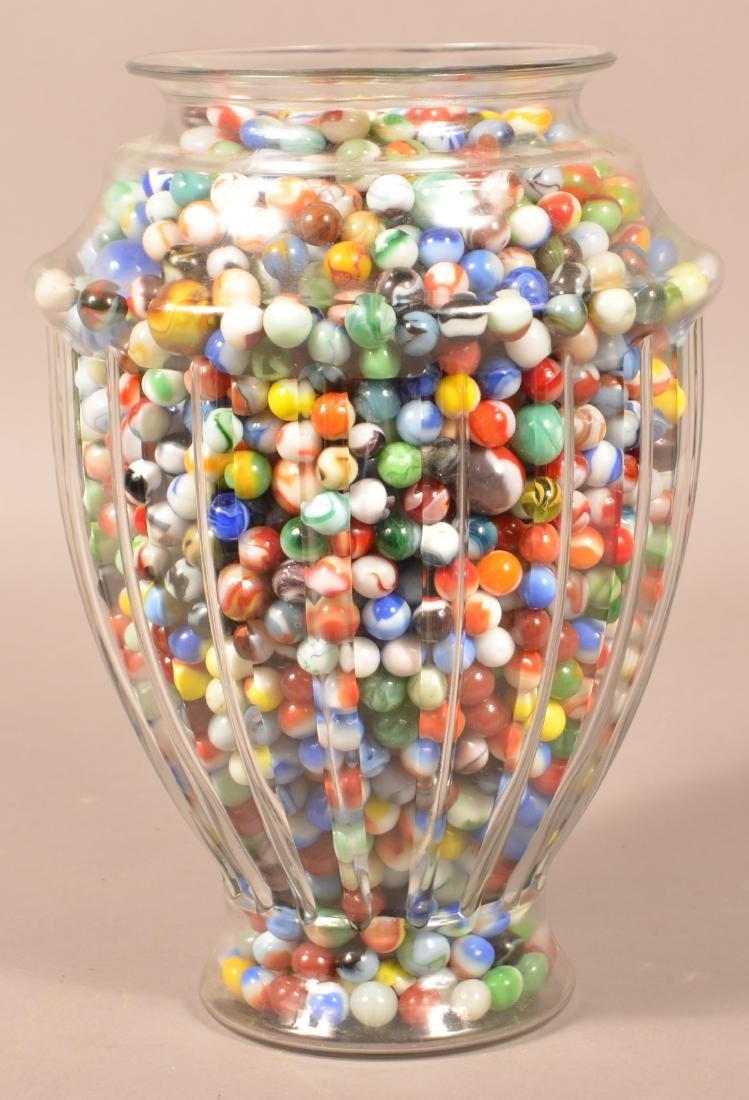 Large Jar Full of 1000+ Vintage Marbles. Jar measures