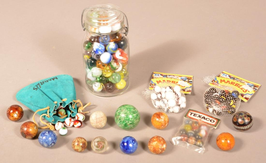 Lot of Various Antique and Vintage Marbles. Largest