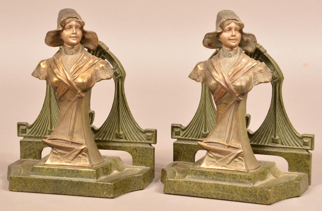 Pair of Art Nouveau Woman Figural Bookends. Painted
