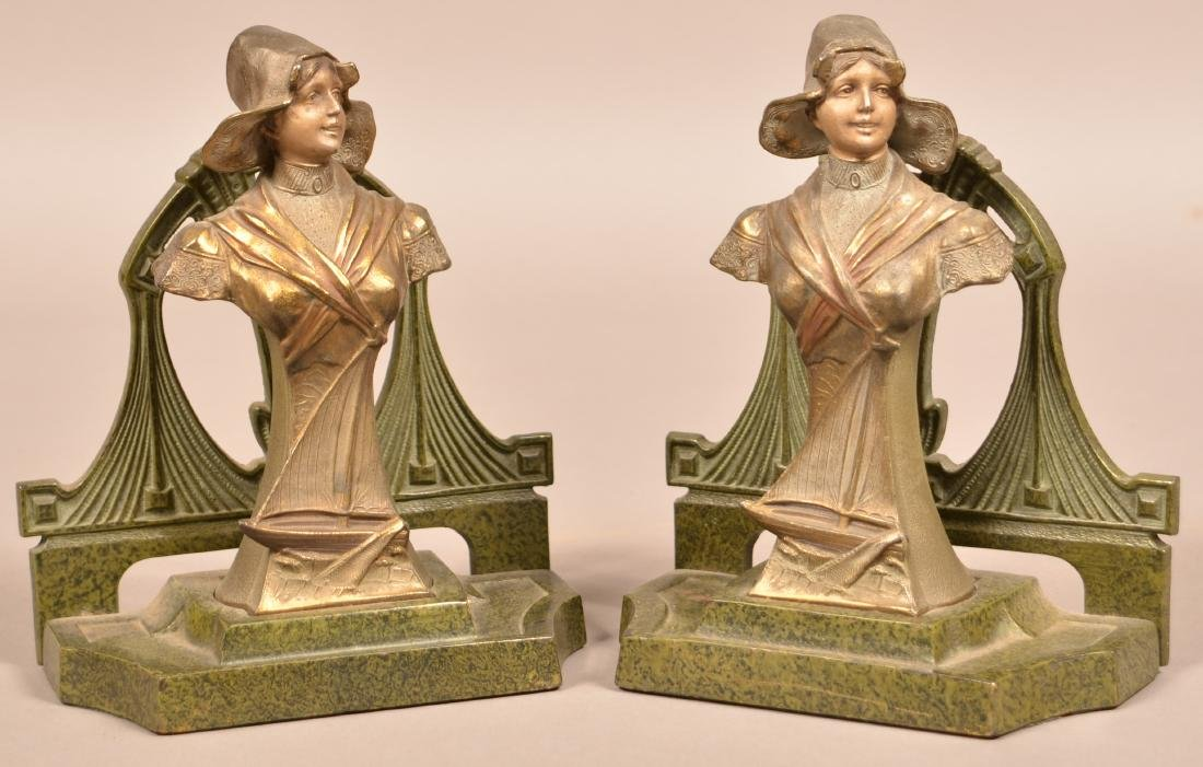 Pair of Art Nouveau Woman Figural Bookends. Painted - 2