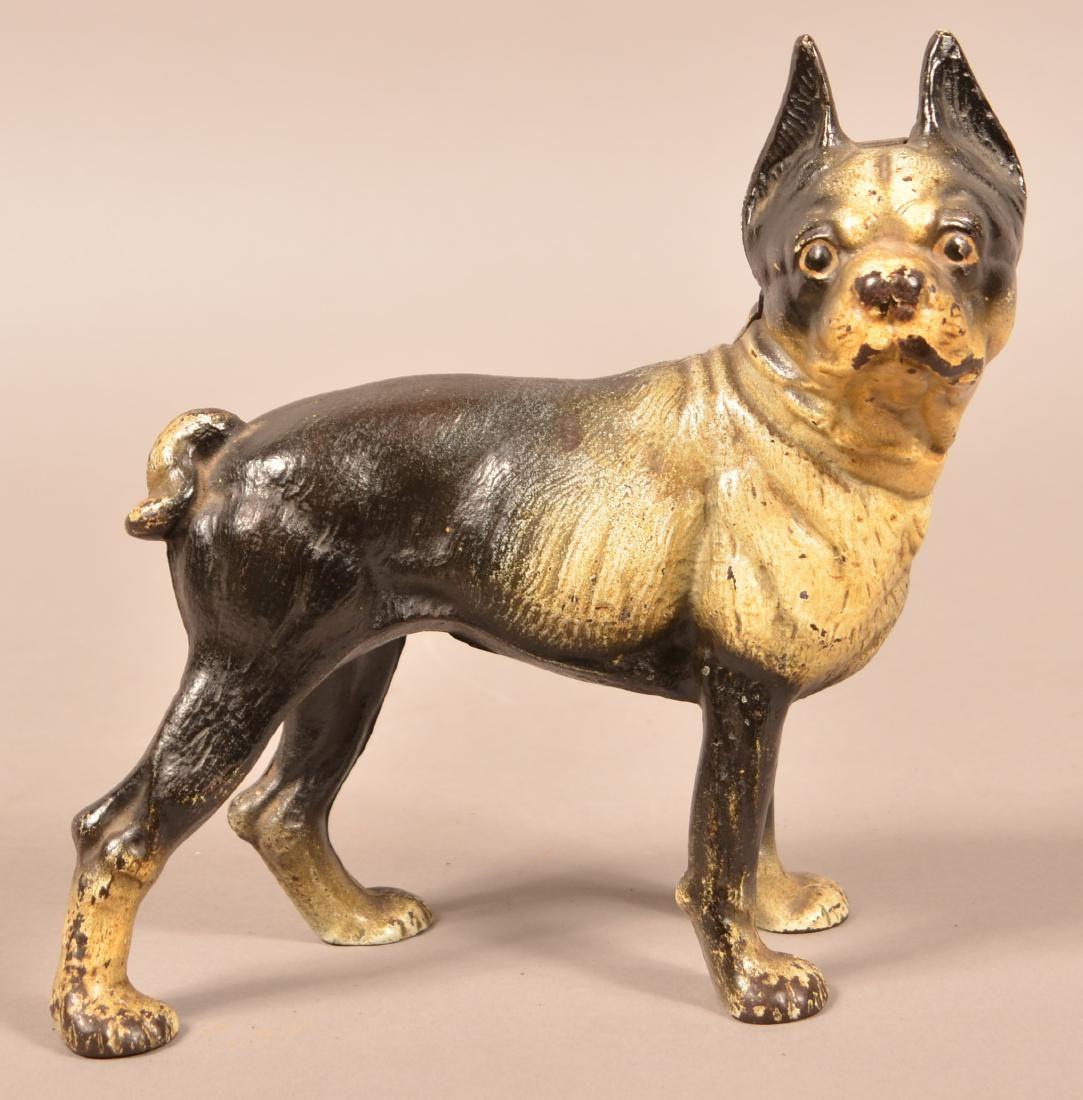 Hubley Cast Iron Boston Bull Terrier Doorstop. Original