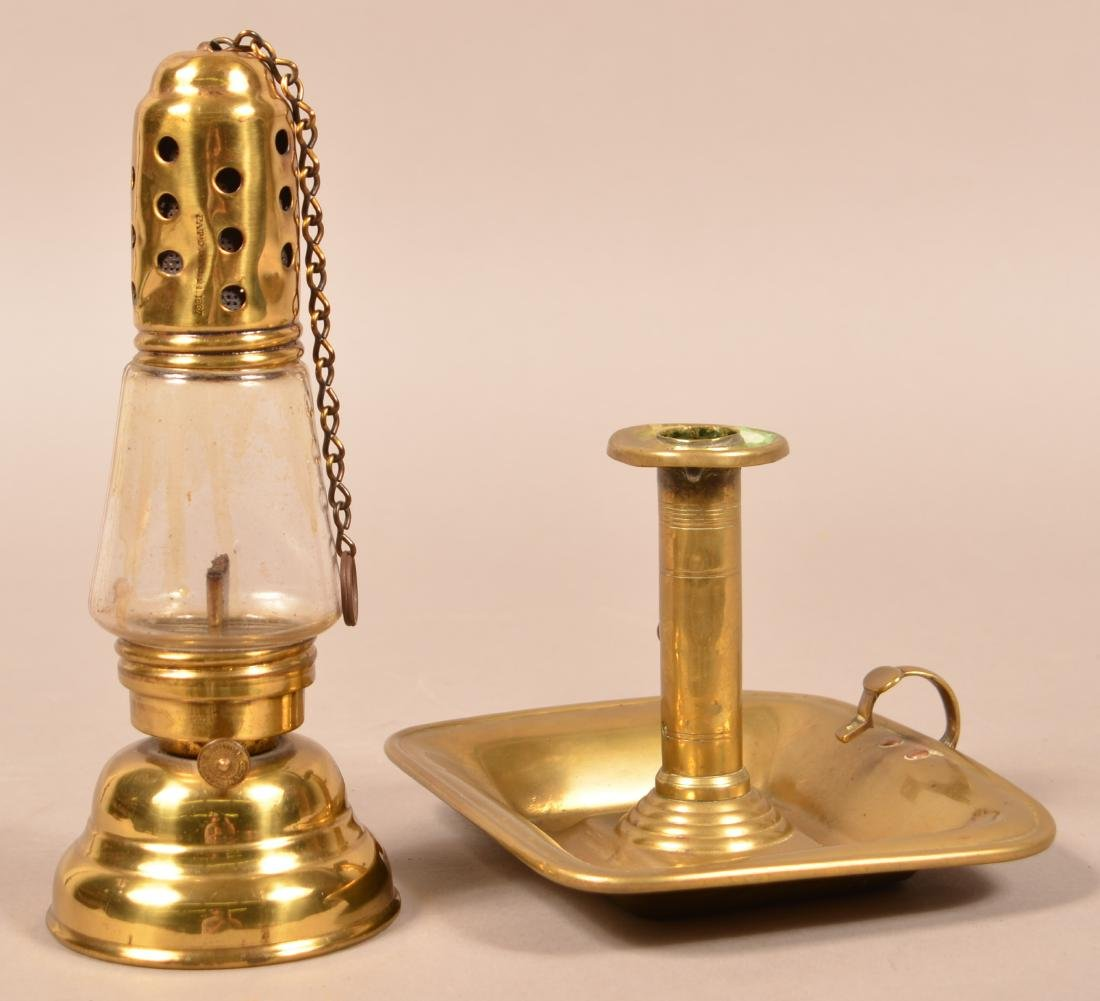 Antique Brass Skaters Lantern and Chamber Candlestick.