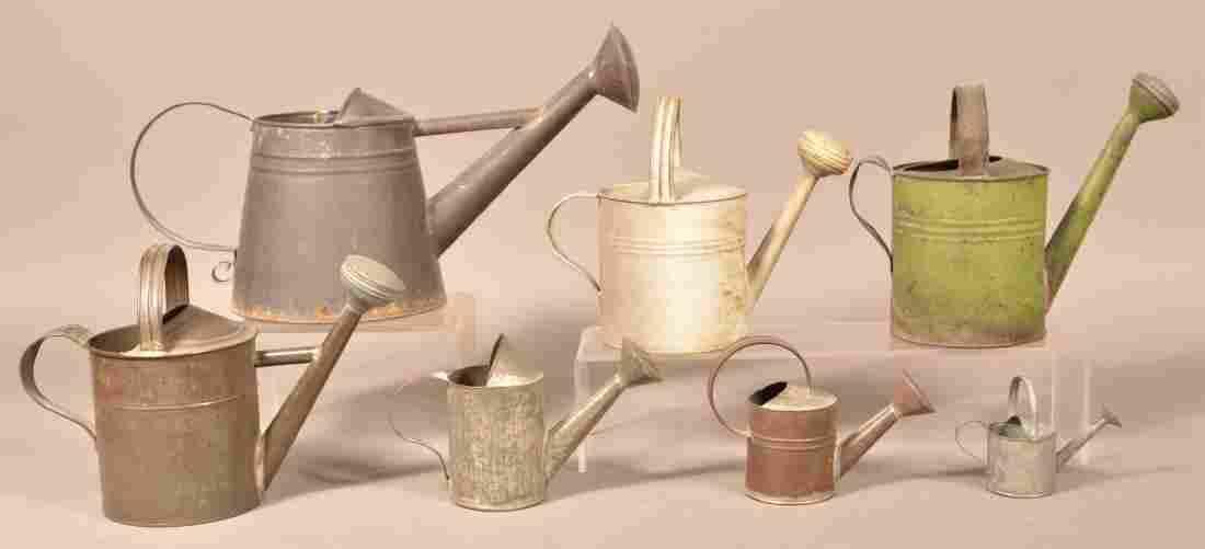 Seven Various Antique/Vintage Tin Sprinkling Cans.