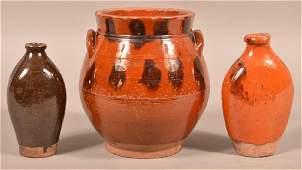 Three Pieces of Antique Glazed Redware. Bulbous jar,