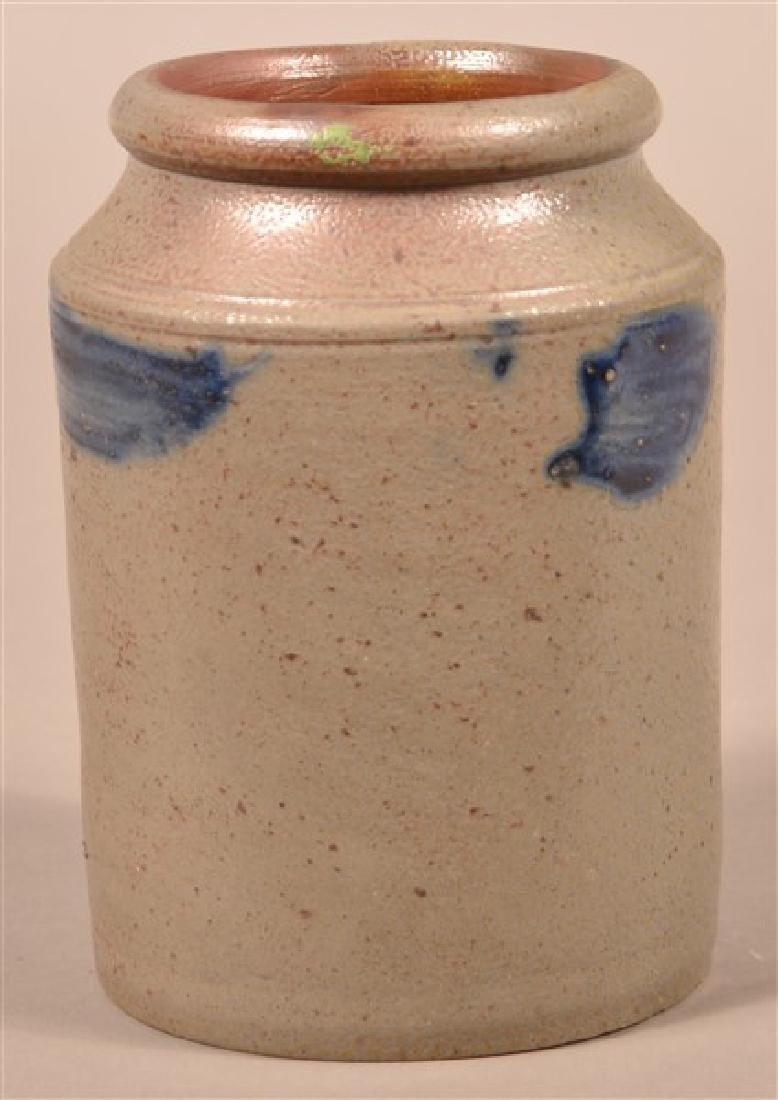 Straight Sided Stoneware Storage Jar. Cobalt blue brush