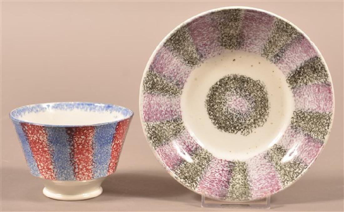 Two Pieces of Rainbow Spatter China. Blue and red cup.