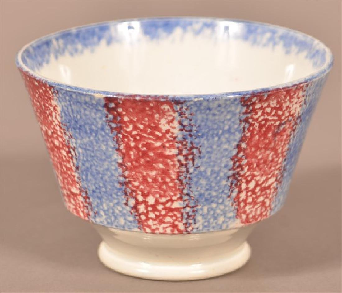 Two Pieces of Rainbow Spatter China. Blue and red cup. - 3