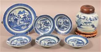 Seven Pieces of Canton Blue and White Oriental