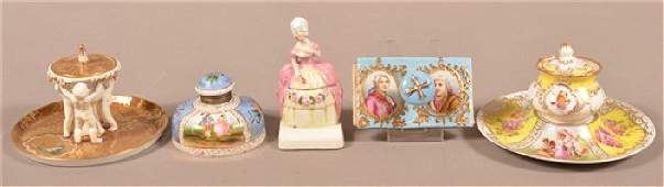 Four Various Hand Painted Porcelain Inkwells and One