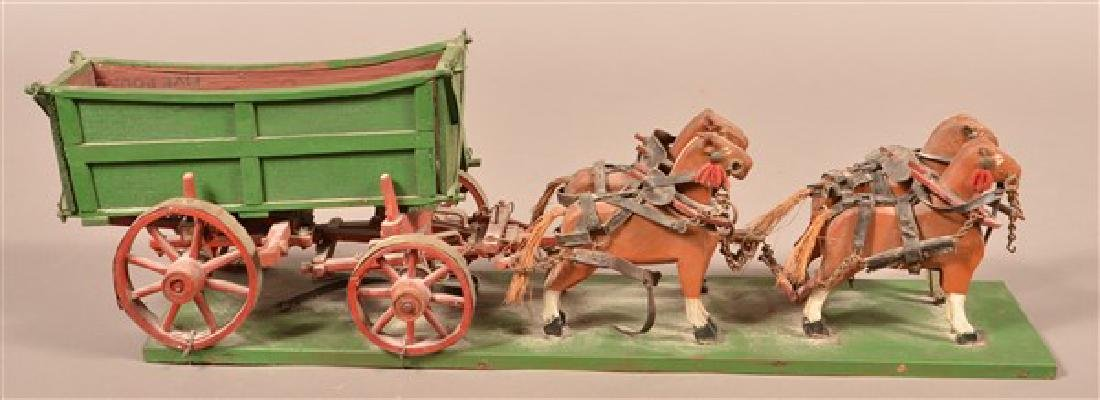 Vintage Folk Art Horse Drawn Wagon. Carved and painted