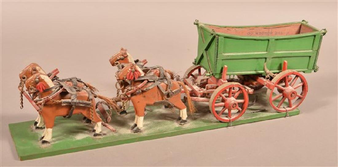 Vintage Folk Art Horse Drawn Wagon. Carved and painted - 2