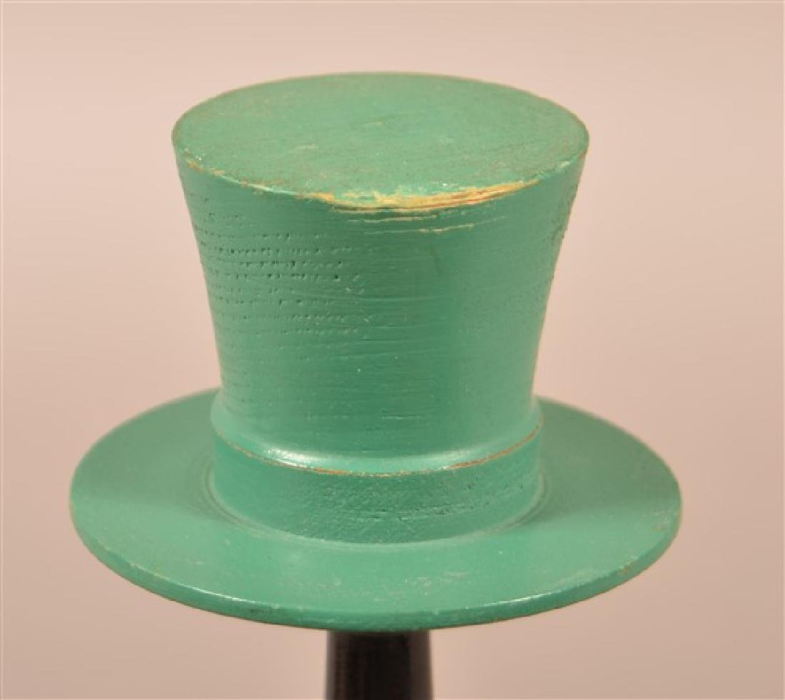 Vintage Turned and Painted Wood Hat Stand. With top hat - 2