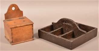 Two Pieces of Antique Woodenwares Walnut salt box