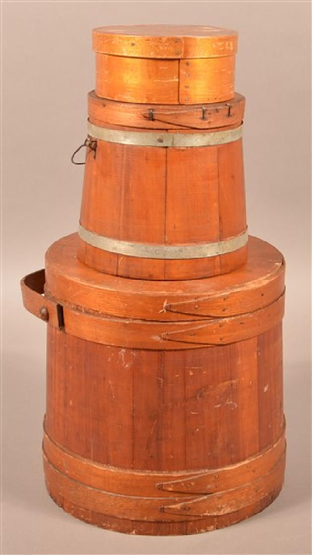 Three Pieces of Antique Wooden Wares. Two firkins and a