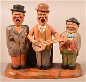 German Carved and Painted Wood Folk Art Musical Bar