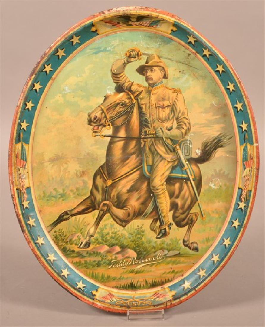 Theodore Roosevelt Rough Rider Large Oval Tin