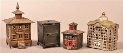 Four Various AntiqueVintage Cast Metal Still Banks