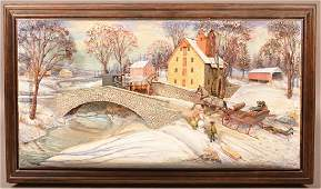 Abner Zook  Mixed Media Diorama Depicting a Village