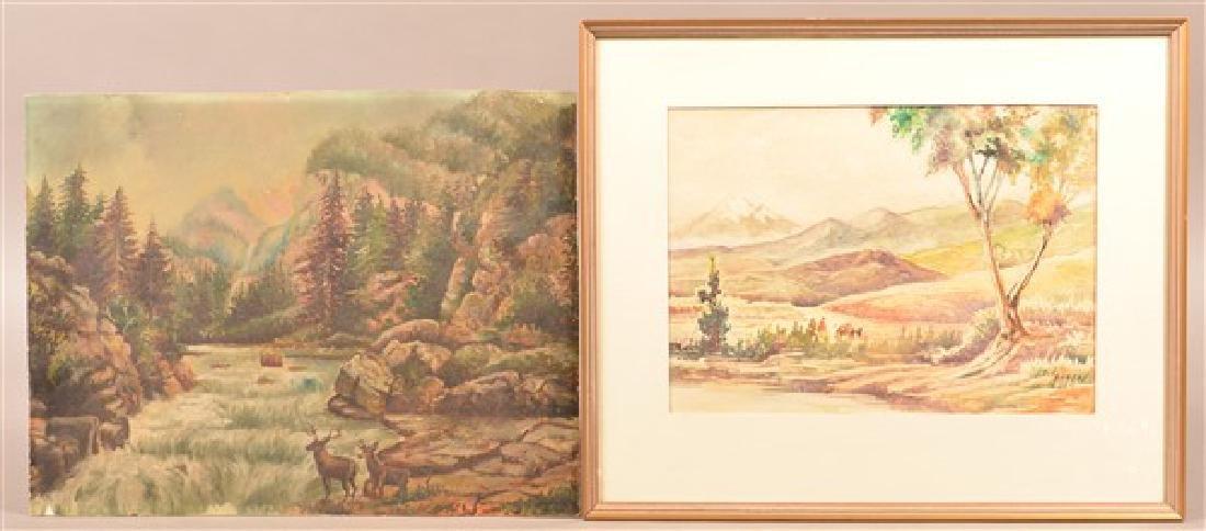 Two Various Landscape Paintings. Largest measures