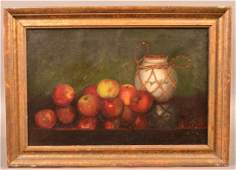 Oil on Canvas Still Life of Apples Painting. Signed