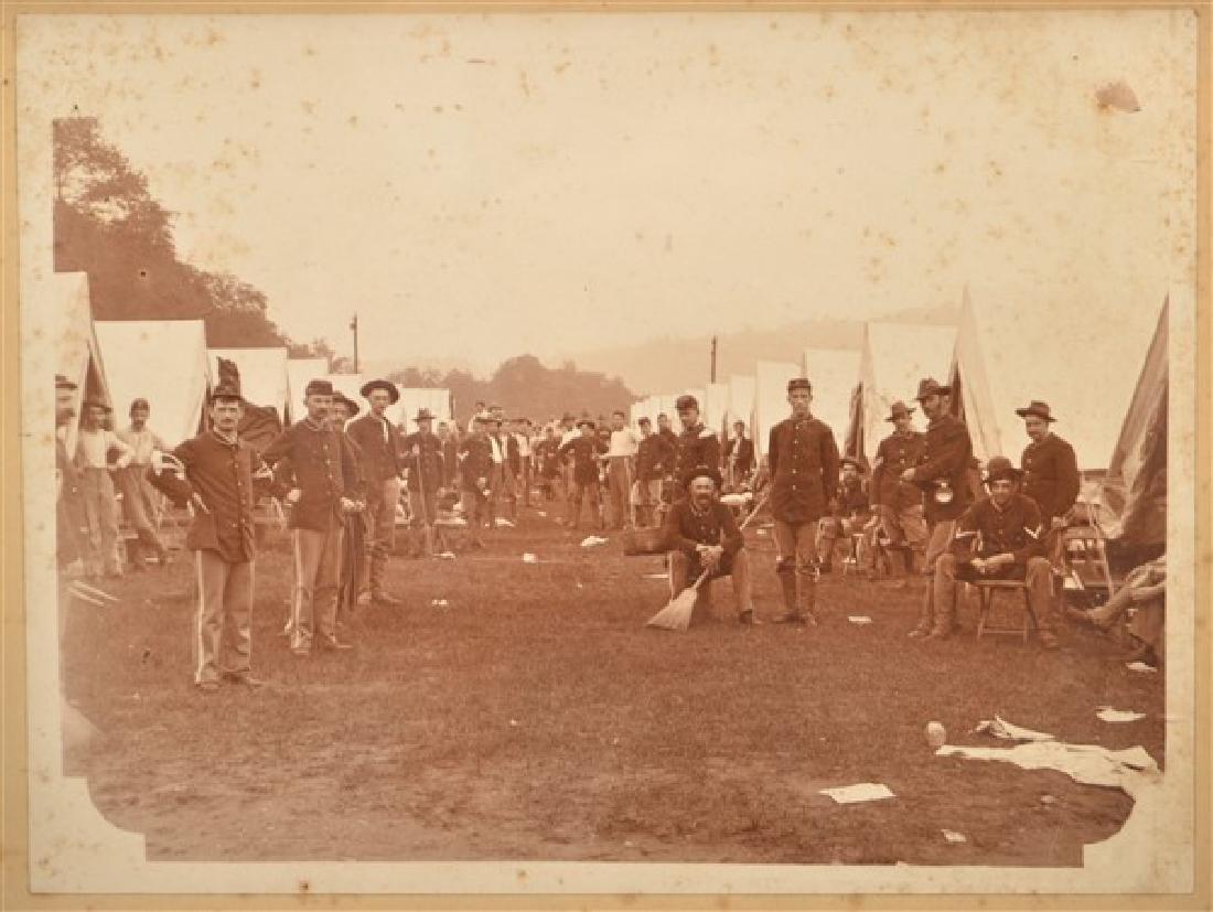 19th Century Photo of a Civil War Encampment. In a - 2
