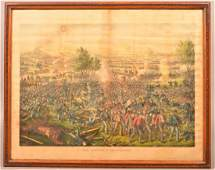 """Color Lithograph """"The Battle of Gettysburg"""". Copyright"""