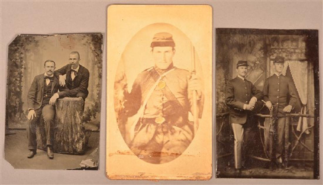 Three 19th Century Images. Two 1/6 Plate Tintypes, one - 2