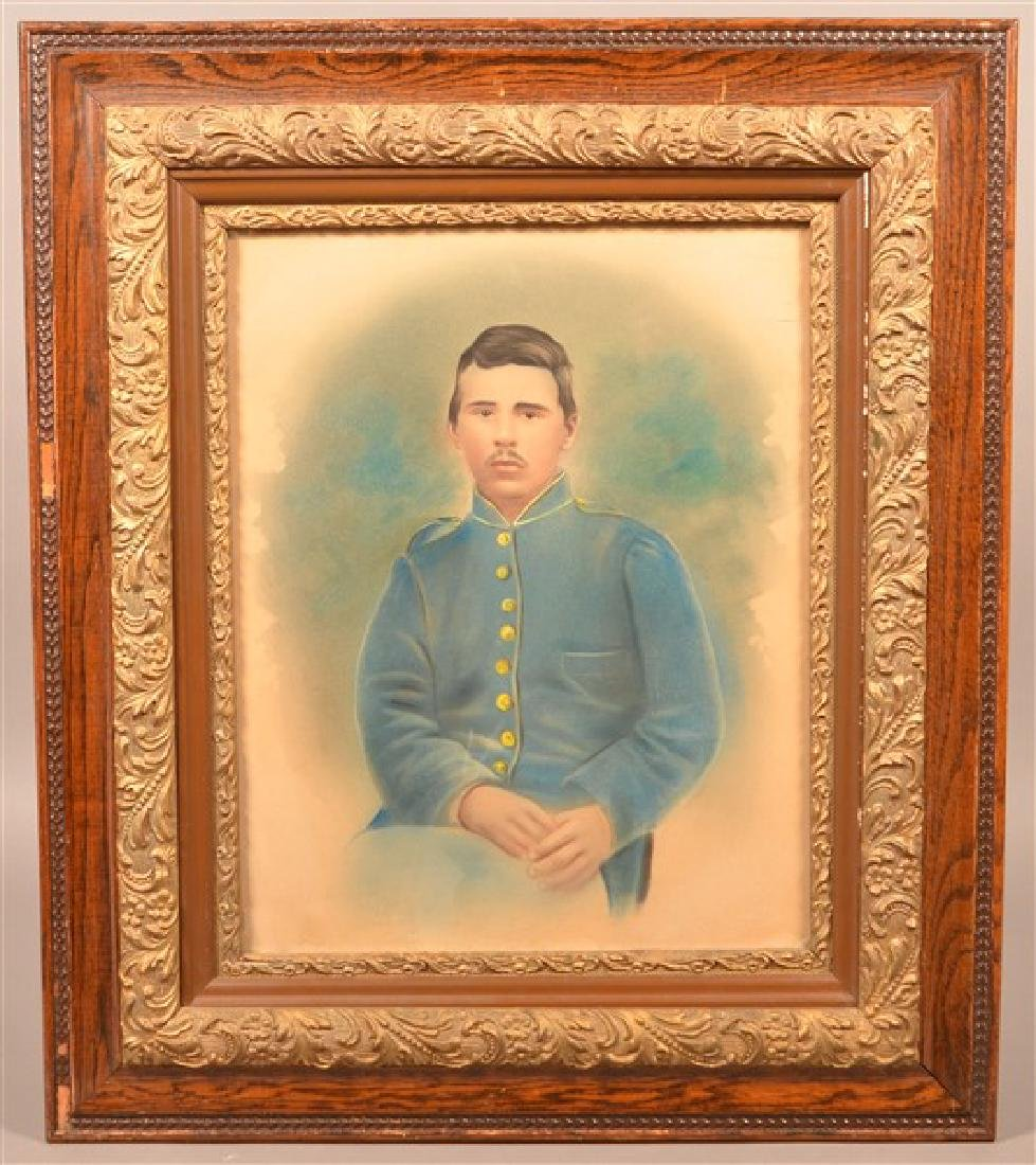 19th Century Pastel Image of a Civil War Soldier.